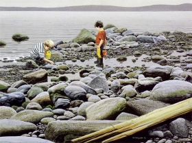 Clayton Anderson, Clayton Anderson Art, J Clayton Anderson, J Clayton Anderson Art, Artist, West Coast Artist, West Coast, West Coast Art, Canadian Art, Canadian Artist, Landscape Artist, Canadian Landscape Artist, Acrylic, Acrylic Painting, Tidal Pools, Children, Beach, Shoreline