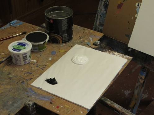 For ease and speed, I'm using black and white gesso.