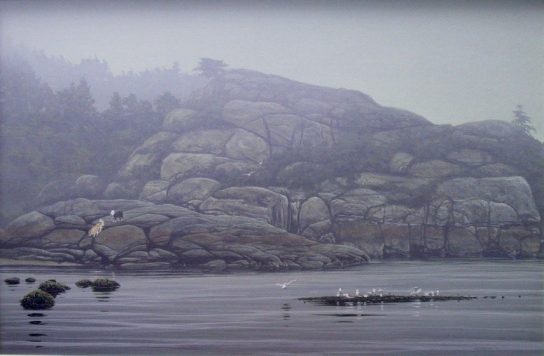 Speaking of milestones, I did this painting of Sargeant Bay twenty years ago! Obviously, the viewpoint is different but the little fir tree that features in the new piece, can be seen to the far right of this older one. It will be interesting to see the difference between the two when I'm done.