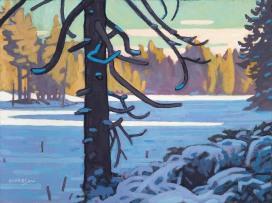 Frozen Cedar 12x16 acrylic on canvas